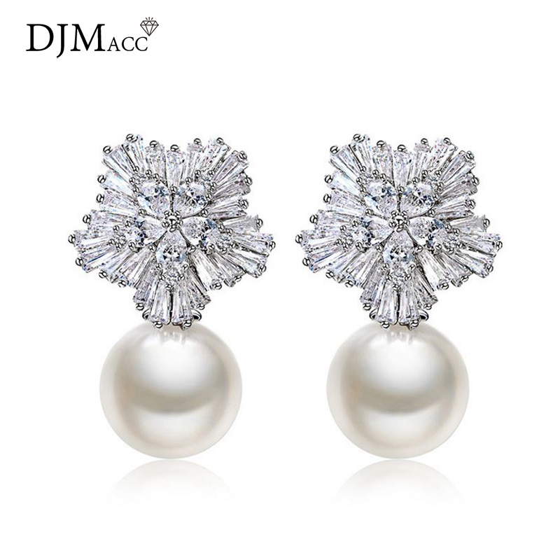 c4e42d2c3a2 US $8.08 15% OFF|DJMACC Top Quality Pearl Earring Not Allergic 925 Silver  Needle Luxury Snowflake Zircon Wedding Stud Earring For Women(DJ0174)-in ...