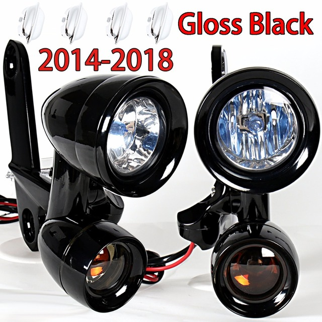 Gloss Black Fairing Mounted Driving Lights Smoked Turn Signals For Harley 2014 2018 Electra Street Glide Models