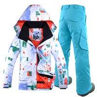 GSOU снег Для мужчин лыжный костюм сноуборд куртка брюки ветрозащитные Водонепроницаемый дышащая Термальность мужской Открытый Спортивная
