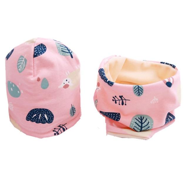 Spring autumn winter plus velvet thick scarf cap two-piece sets baby cotton collar beanies hat children's cartoon warm accessory