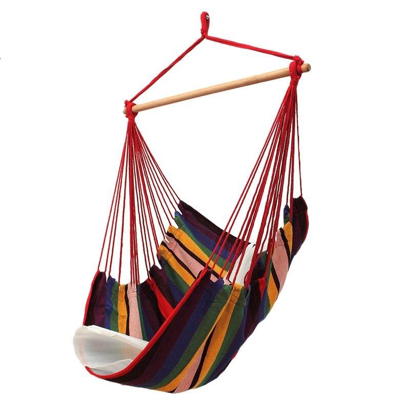 SGODDE Garden Patio Porch Hanging Cotton Rope Swing Chair Seat Hammock  Swinging Wood Outdoor Indoor Swing Seat Chair In Hammocks From Furniture On  ...