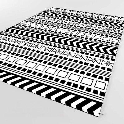 Else White Black Ethnic Authentic Aztec 3d Print Non Slip Microfiber Living Room Decorative Modern Washable Area Rug Mat