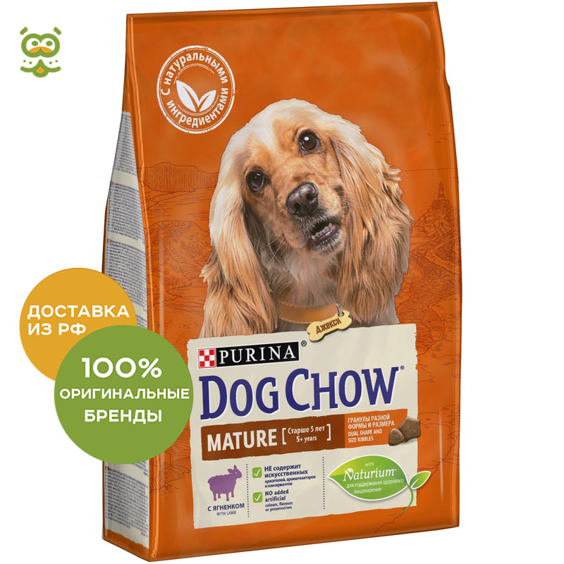 Dog food Dog Chow Mature for dogs of all breeds aged 5 - 9 years, Lamb and rice, 2.5 kg. dog food dog chow senior for dogs of all breeds from the age of 9 years lamb 2 5 kg