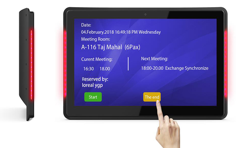 10.1 Inch Android PoE Wall Mount Tablet With LED Bars For Conference Meeting Room (Rockchip 3288,2GB/8GB, Wifi, RJ45,bluetooth)(China)