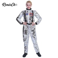 Halloween Costumes For Women Astronaut Costume Adult Sliver Cosplay Jumpsuit Lady Outer Space Cosplay Female Robot Alien Cosplay
