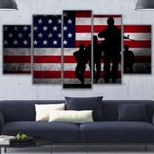 Canvas Painting 5 Piece Flag soldier Poster Top-Rated Print Modular Picture Home Decor Framework Living Room Wall Art