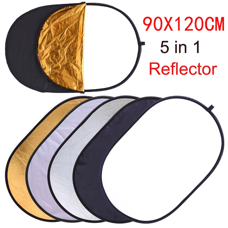 90x120CM 5 IN ONE Photo Studio Photo Oval Reflector Photography Reflector Collapsible Portable Photo Accessories With Carry Bag xml & 8874