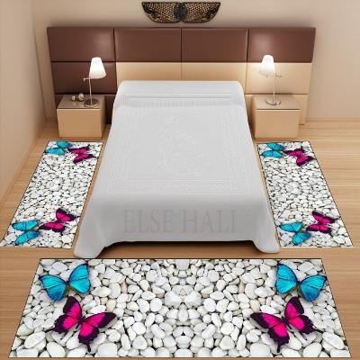 Else 3 Piece Blue Pink Butterfly On White Stones 3d Pattern Print Non Slip Microfiber Washable Decor Bedroom Area Rug Carpet Set