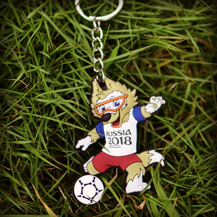 TANGYIN 2018 New Fashion Mascot Key Chain Lovely Wolf Pendant Playing Football Keychain Gifts for Men And Womens Best Friend