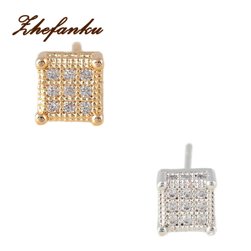 Trendy Man Women Square Stud Earrings Cubic Zircon Earrings Wedding Jewelry ...