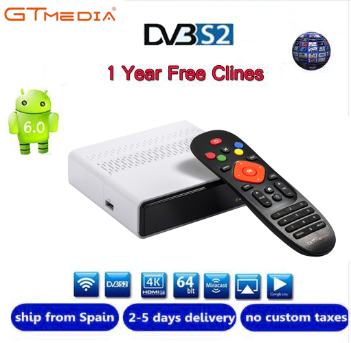 Freesat GTmedia GTS Android 6.0 4 k Smart TV BOX Amlogic S905D Combo DVB-S2 Ricevitore Satellitare 2g/8 gb BT4.0 Set top box cccam m3u