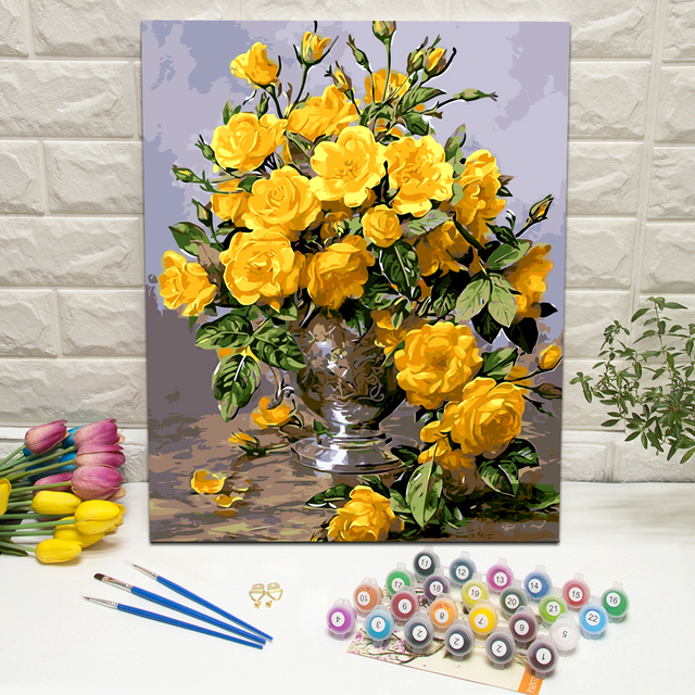 Framed Roses In A Silver Vase Oil Painting By Number Hand Painted