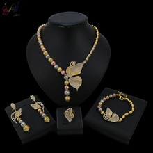 YULAILI New Coming Butterfly Design Pure Gold Color Jewelry Set for Women Necklace Earrings Bracelet Ring