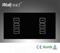 110 250V Wallpad 6 gang 2 way Waterproof Crystal Glass Black, 172*86mm Double Control Touch Control light switch,Free Shipping