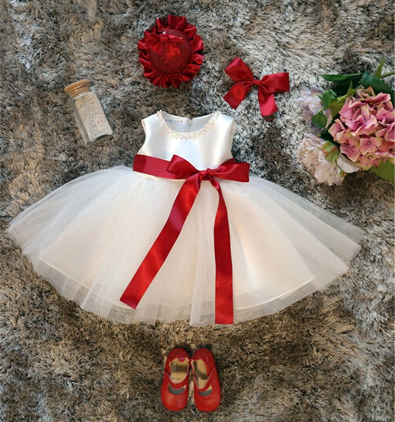 Baby Girl Birthday Dress Tutu Princess Kids Wedding Dresses New Toddler Clothes White Dress For Girls Baptism Clothes 1 Year