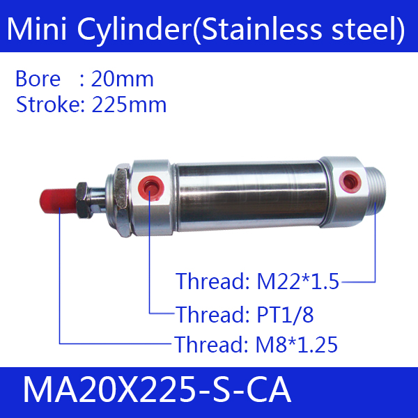 Free shipping Pneumatic Stainless Air Cylinder 20MM Bore 225MM Stroke , MA20X225-S-CA 20*225 Double Action Mini Round CylindersFree shipping Pneumatic Stainless Air Cylinder 20MM Bore 225MM Stroke , MA20X225-S-CA 20*225 Double Action Mini Round Cylinders
