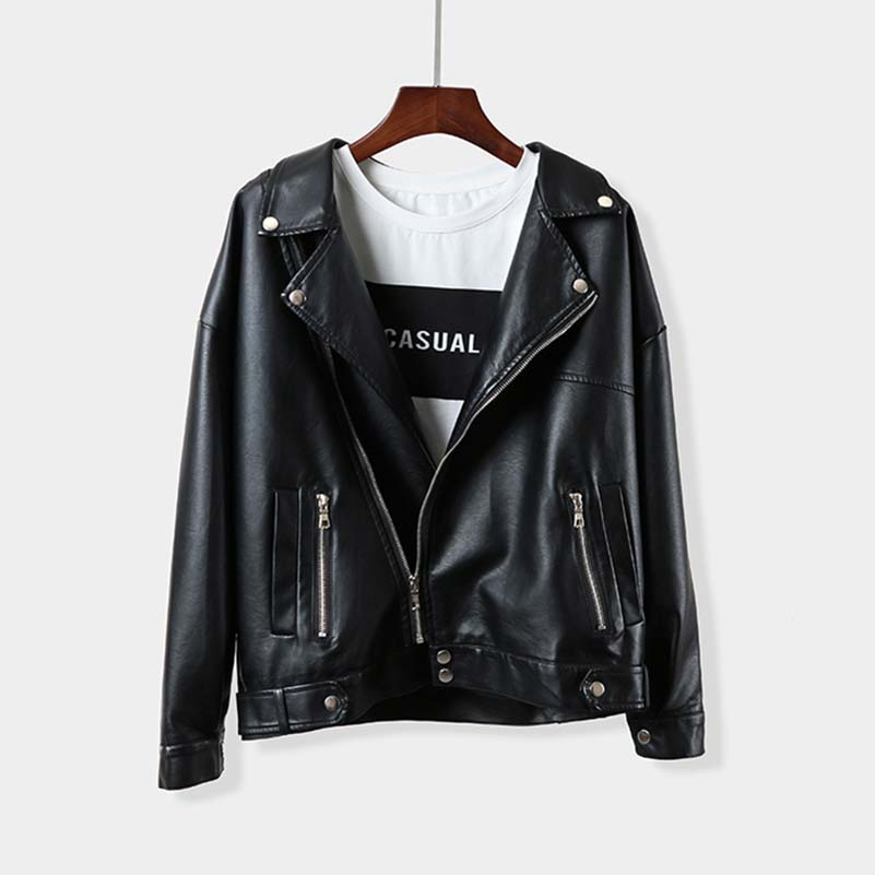 NiceMix Autumn Spring Black Leather Jacket Turn down Collar Slim PU women jacket Harajuku BF feminine coat Faux Leather Basic in Leather Jackets from Women 39 s Clothing