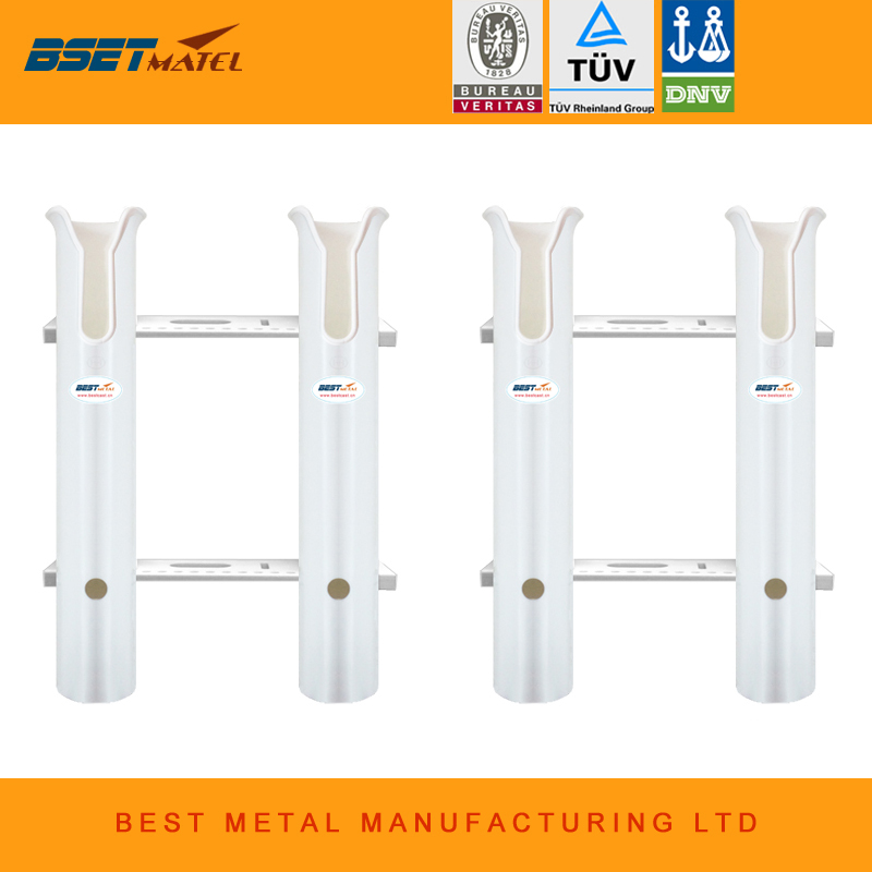 2 Pieces White plastic 2 Tubes Link fishing rod holders fishing rod socket racks for boat marine fishing box kayak boat yacht