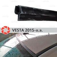 Defletores de pára brisa para lada vesta 2015 2019 proteção de vedação de pára brisa aerodinâmica chuva estilo do carro capa almofada|Estilo de cromo| |  -