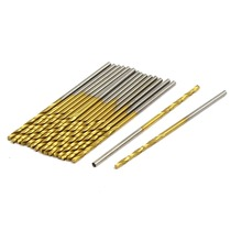 UXCELL 20Pcs Drill Bits 1.2mm Dia 38mm Length Titanium Plated 2-Flute Straight Shank Twist Bit Gold Silver Tone