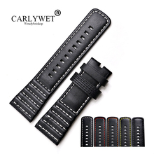 CARLYWET 28mm Wholesale Real Leather With Black White Orange Red Yellow Stitches Wrist Watch Band Strap Belt carlywet 28mm real calf leather handmade black white orange red blue stitches wrist watch band strap belt clasp
