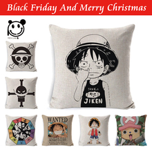 Anime Cushion Cover Linen One Piece Wanted Printed Throw Pillow Sofa Car Home Decoration Case 45x45cm