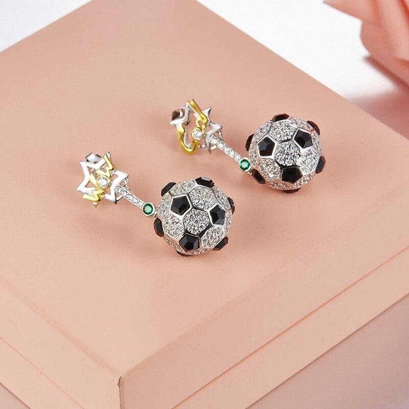 Chaude 925 en argent Sterling solide mode CZ pierre pavé Football forme Dangle goutte de luxe fête mariage boucle d'oreille pour les femmes bijoux
