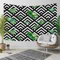 Else Black Lines Triangles Green Leaves Geometric 3D Print Decorative Hippi Bohemian Wall Hanging Landscape Tapestry Wall Art