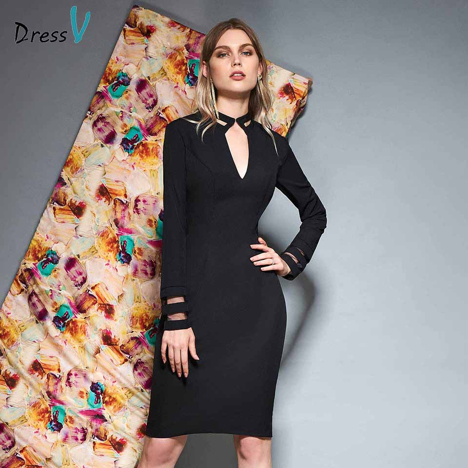 Dressv black v neck long sleeves   cocktail     dress   sheath zipper up knee length wedding party evening formal   dress     cocktail     dresses
