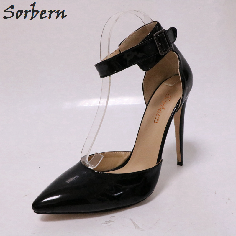 Sorbern Mature Pointy Toe High Heels Women Pumps Ol Shoes Female Plus Size Shoes Fashion Heels Women Big Size Dress Shoes big size 40 41 42 women pumps 11 cm thin heels fashion beautiful pointy toe spell color sexy shoes discount sale free shipping