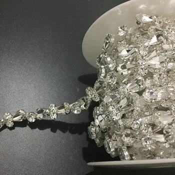 10Yards Clear Glass Crystal Rhinestone Bridal Trim Fine Chain Brass Silver Gold Plated Rose Gold