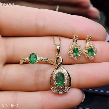 KJJEAXCMY exquisite jewelry 925 Silver-inlaid Natural Gem Emerald Girl Ring Dropping Earrings Set Support Detection