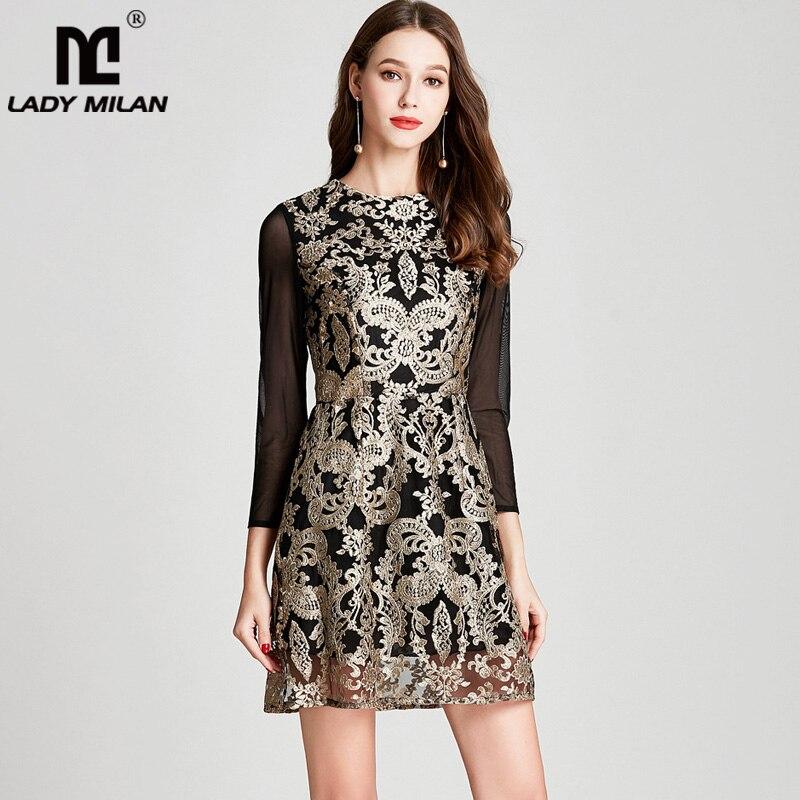 Lady Milan 2018 Womens O Neck Long Sleeves Embroidery Elegant Designer Homecoming Fashion Casual Runway Dresses
