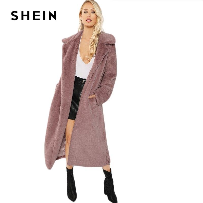 SHEIN Rosa Oficina señora elegante abierto frente largo piel sintética Teddy sólido abrigo 2018 otoño minimalista mujeres abrigos ropa de abrigo - 6