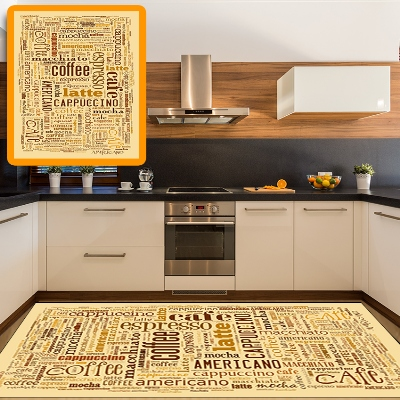 Else Yellow Brown Coffee Americano Writen 3d Print Non Slip Microfiber Kitchen Modern Decorative Washable Area Rug Mat