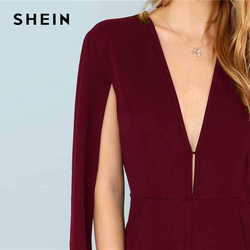 SHEIN Бургундия Офисная Леди сплошной карман погружающийся шеи плащ 3/4 рукав удлиненный комбинезон Осенние элегантные модные женские комбинезоны