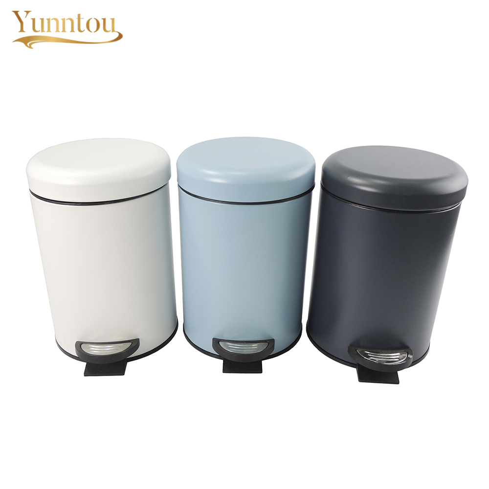 Small Kitchen Trash Cans Us 34 59 3l Metal Trash Can Bathroom Dustbin Kitchen Living Room Office Small Garbage Bin Home Rubbish Waste Storage Bin Powder Coating In Waste