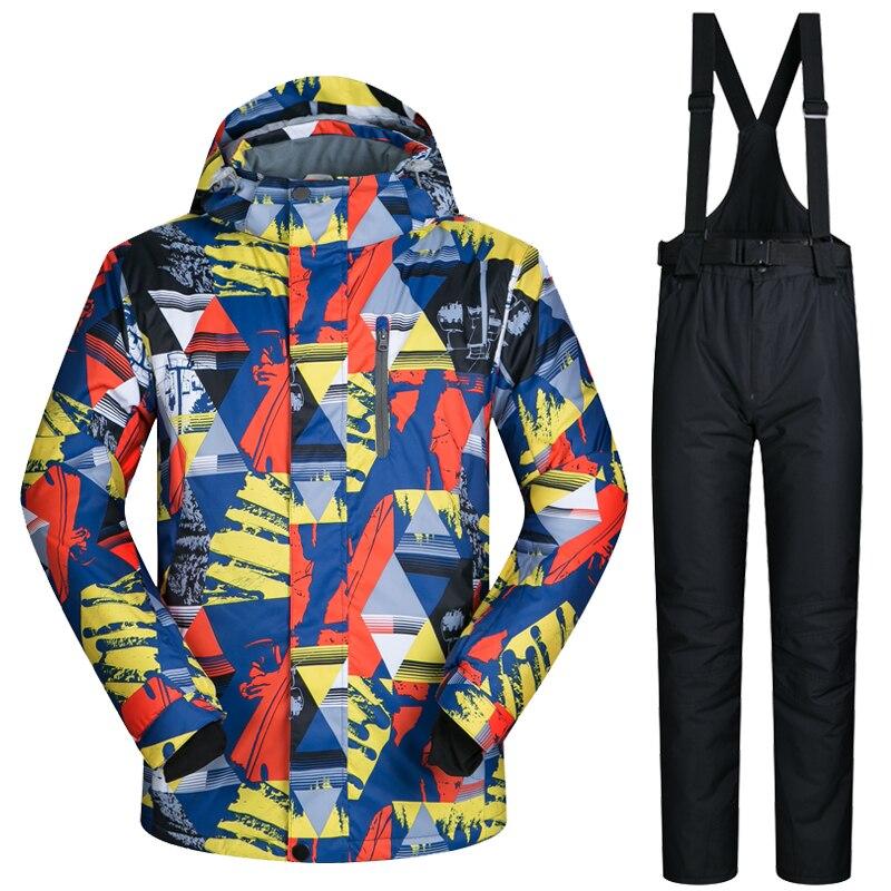 2019 combinaison de Ski d'hiver hommes imperméable à l'eau chaude Ski de fond Sui Snow Snowboard vestes et pantalons vêtements de Ski et de Snowboard