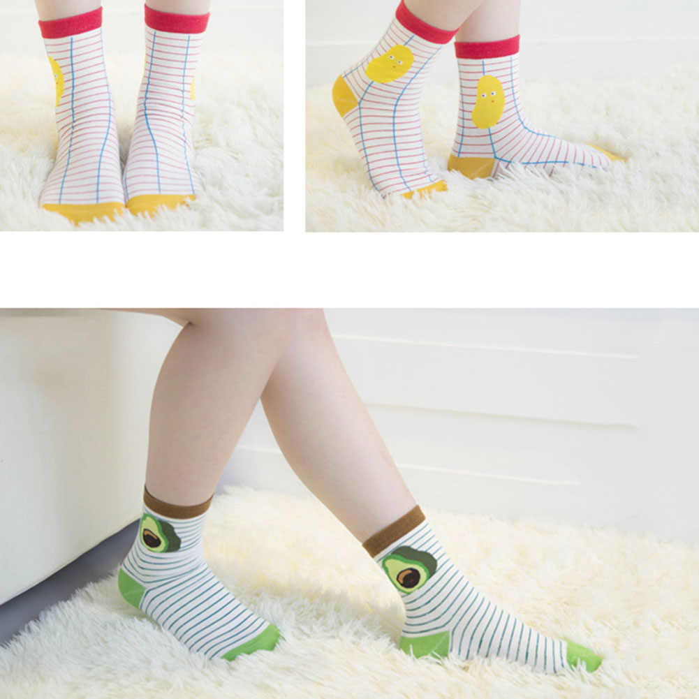 Cotton Jacquard Fruit Socks Women Lovely Striped Avocado Food Socks Dot Point New Design Ukraine Kawaii Cute Funny Spring Socks