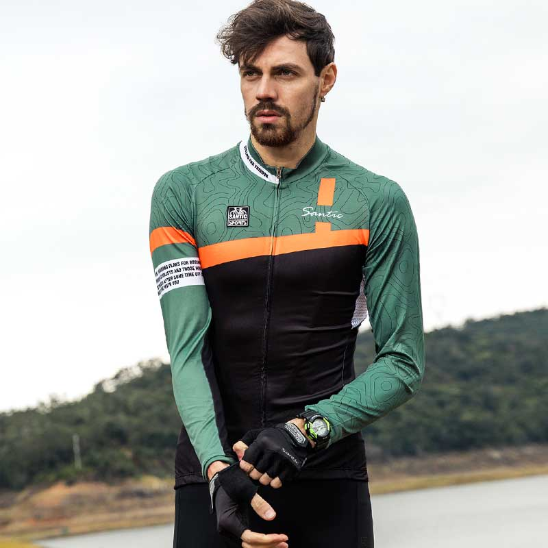 Santic Cycling-Jerseys Spexcel 1090 Top-Bike Long-Sleeve Maillot-Ciclismo Breathable