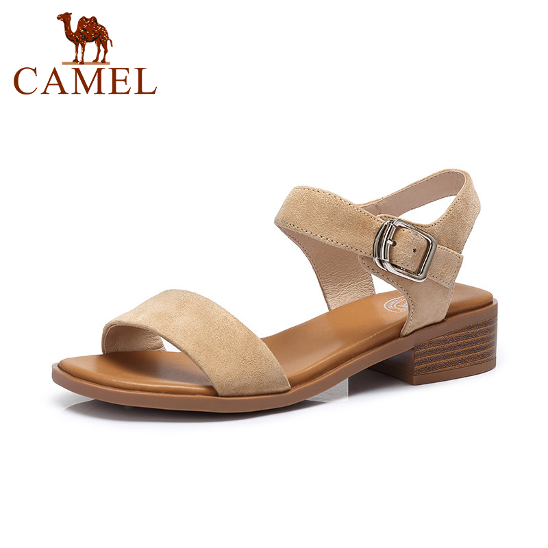 ebfd63ec7b0 CAMEL 2018 New Korean Fashion Wild Casual Geniune Leather Woman Sandals  Women Comfortable Thick Low Heel Exposed Buckle Sandals-in Women s Sandals  from ...