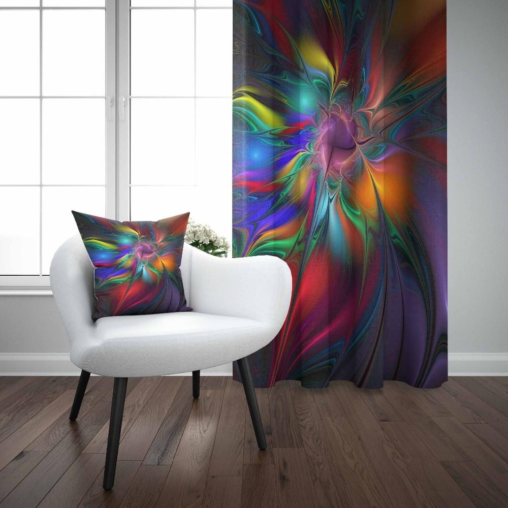 Sinon noir abstrait néon bleu Orange rouge vert couleur 3D imprimer salon chambre fenêtre panneau rideau combiner cadeau taie d'oreiller