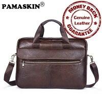 PAMASKIN Marke Premium-echtes Leder Männer Laptop Taschen 14 zoll 2017 Neuheiten Business-aktentaschen für Männer Heiße Messenger Bags