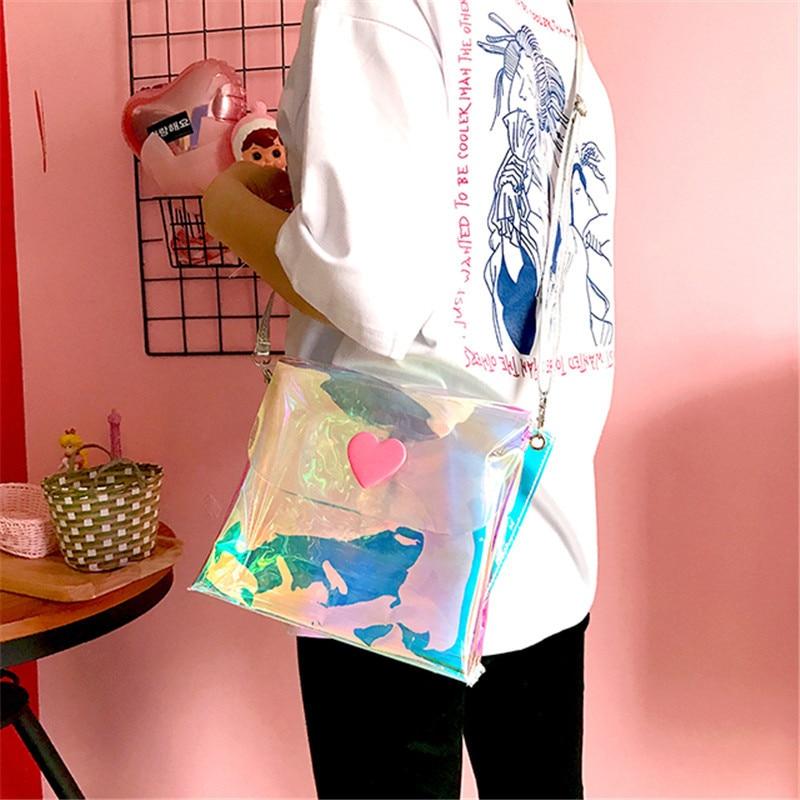 Osmond Laser Candy Color Shoulder Bag Pink Love Heart Shaped Cute Messenger for 2017 Envelope Clutch Bag Women Crossbody Clear cute beads heart love bracelet for women