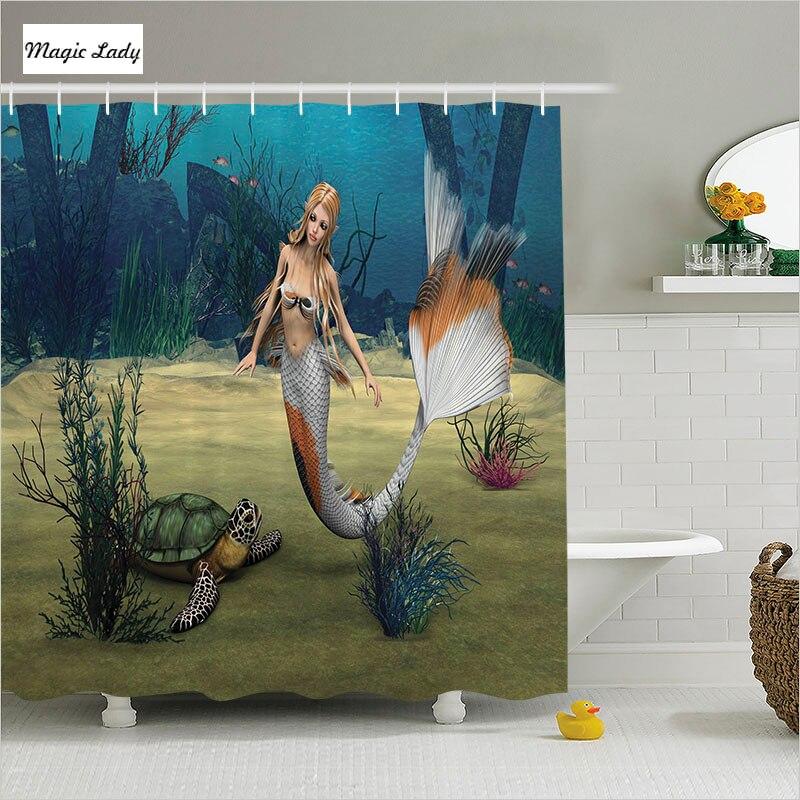 Shower Curtain Little Mermaid Bathroom Accessories Marine