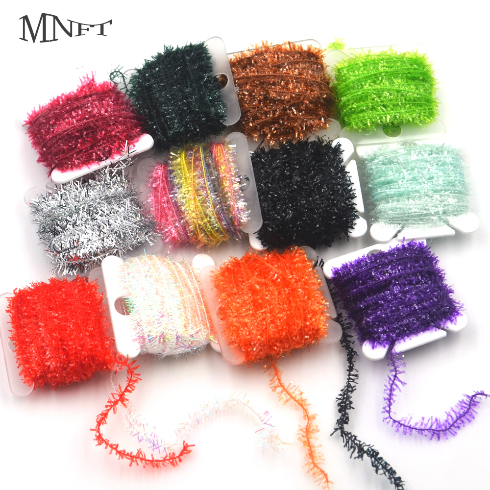 MNFT Free Shipping Wholesale 10Colors 20Cards 200m/Lot Fly Fishing Tinsel Chenille Streamer Lures Material Crystal Flash Line