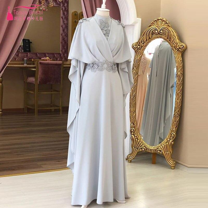 Robe De bal musulmane en argent 2018 robes De soirée col haut manches longues Robe De soirée Dubai élégant Vestido De Noiva ZE070