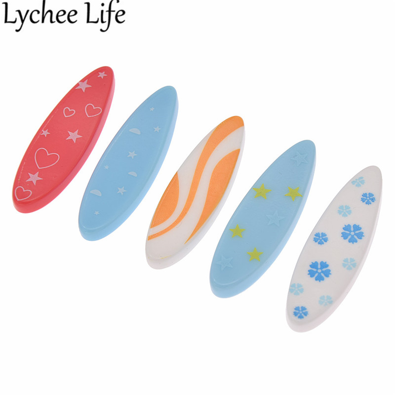 5pcs Surf Board Ornament Model Random Color Floral Print Miniature Figurines Modern Home Table Gift Decoration Craft