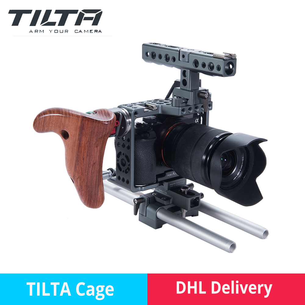 Tilta Sony Cage A7sii professional DSLR camera Rig Cage with Baseplate Wooden Handle Top Handle For SONY A7 A7S A7S2 A7R A7R2