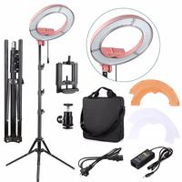 Fotopal 180pcs LED 5500K 36W UniversaL Adapter Dimmable LED Camera Photo/Video photography Annular Lamp Rings Selfie Light Pink